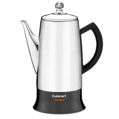 12-Cup Black Stainless Steel Percolator