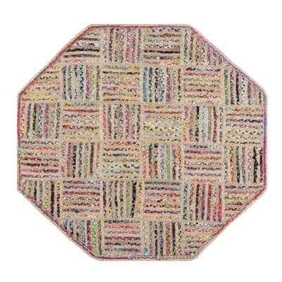 Criss Cross Braid Collection is Mildew and Moisture Resistant Reversible Natural 5 ft. x 5 ft. Octagon Jute Area Rug