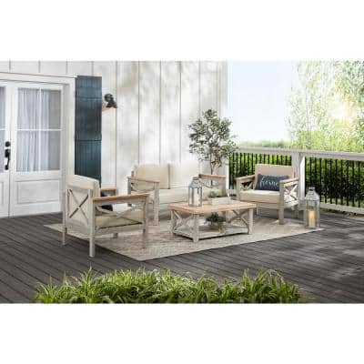 Coral Crest Weathered Light Teak 4-Piece Wood Patio Conversation Set with Beige Cushions