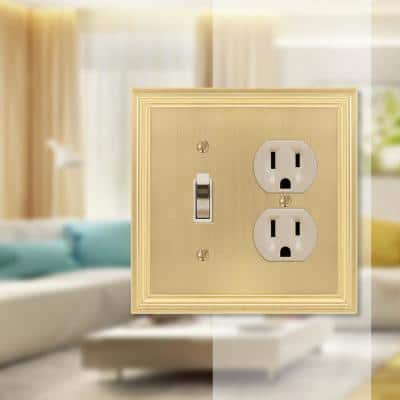 Hallcrest 2 Gang 1-Toggle and 1-Duplex Metal Wall Plate - Satin Brass