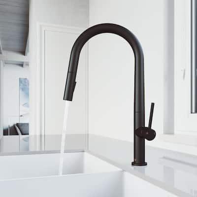Greenwich Single-Handle Pull-Down Sprayer Kitchen Faucet in Matte Black