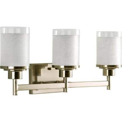 Alexa Collection 3-Light Brushed Nickel Etched Linen With Clear Edge Glass Modern Bath Vanity Light