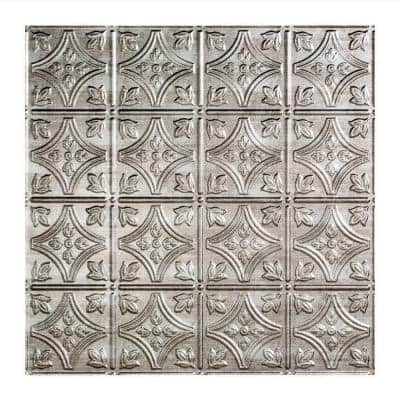 Traditional #1 2 ft. x 2 ft. Crosshatch Silver Lay-In Vinyl Ceiling Tile (20 sq. ft.)