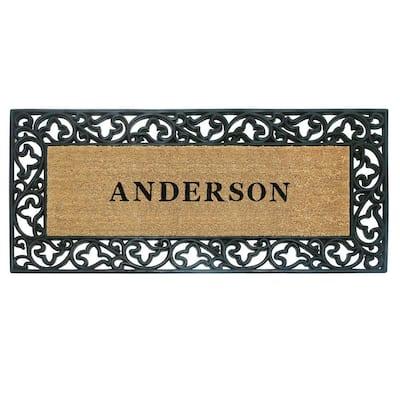 Acanthus Border 24 in. x 57 in. Rubber Coir Personalized Door Mat