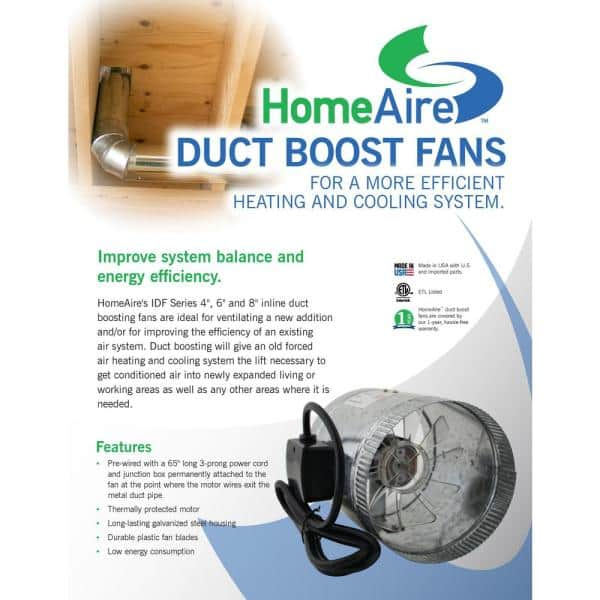 Spruce Homeaire Idf 4 70 Cfm 4 In Inlet And Outlet Inline Duct Booster Fan In Galvanized Steel Housing 28531 The Home Depot