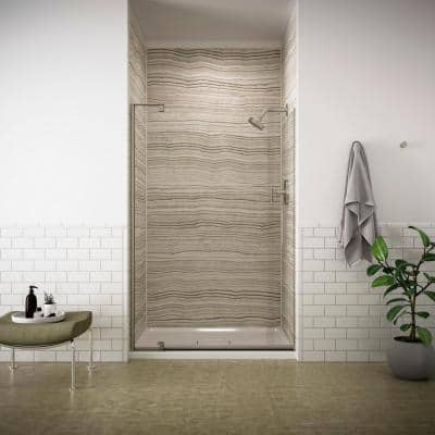 Revel 48 in. x 70 in. Frameless Pivot Shower Door in Anodized Brushed Nickel with Handle