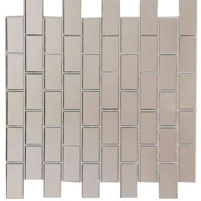 Reflections Straight Edge Silver Brick Mosaic 1 in. x 2 in Glass Mirror Wall Tile (14 sq. ft./Case)