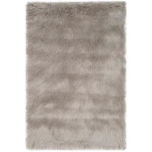 Faux Sheep Skin Gray 2 ft. x 3 ft. Area Rug