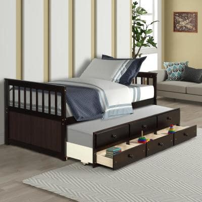 Espresso Twin Platform Bed with Trundle and Drawers