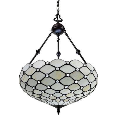 3-Light Tiffany Style Jeweled Hanging Pendant
