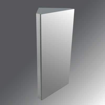 Steeley 11-7/8 in. Width x 23-5/8 in. Height Corner Brushed Stainless Steel Recessed or Surface Mount Medicine Cabinet