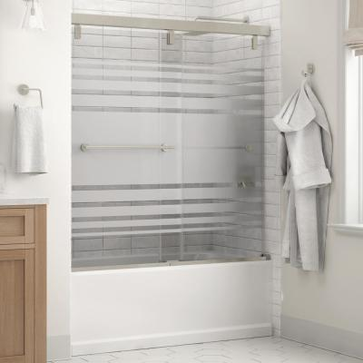 Crestfield 60 in. x 59-1/4 in. Mod Semi-Frameless Sliding Bathtub Door in Nickel and 1/4 in. (6mm) Transition Glass