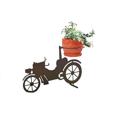 Car Design Lawn Art 12.8 in. H x 19.1 in. W x 7 in. Dwith 6 in. Opening Rust Metal 3D Standing Planter