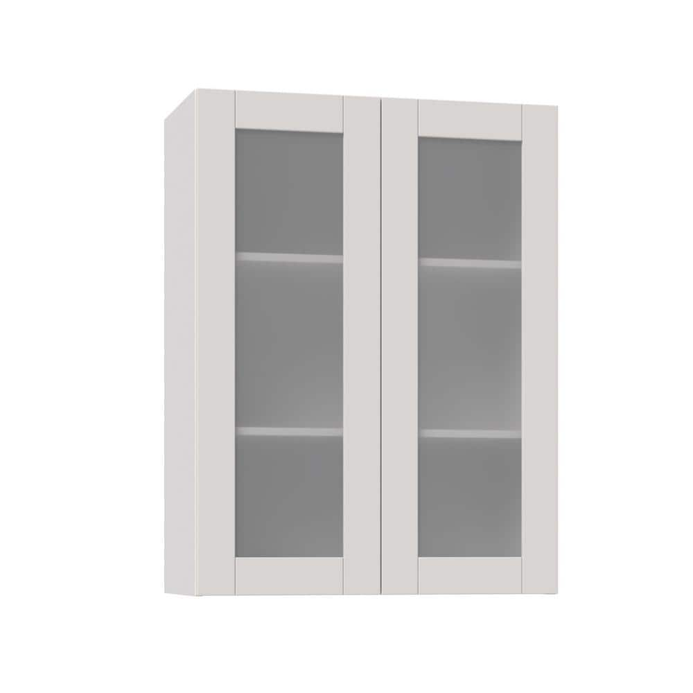 J Collection Shaker Assembled 30x40x14 In Wall Cabinet With Frosted Glass Doors In Vanilla White Wg3040 Ws The Home Depot