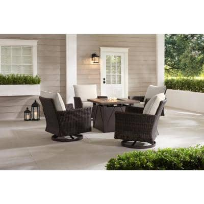 Lakeline 5-Piece Brown Metal Outdoor Patio Fire Pit Swivel Seating Set with CushionGuard Almond Cushions