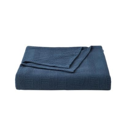 Rope Stripe 1-Piece Navy Blue Cotton Full/Queen Blanket