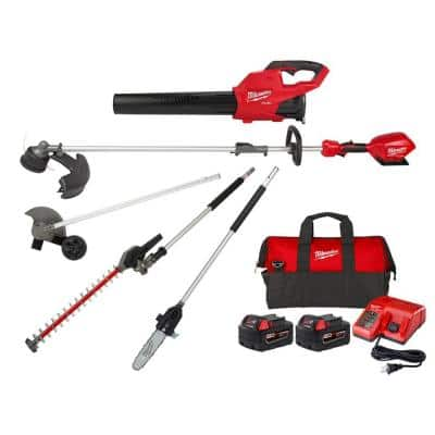 M18 FUEL 18V Blower with Two 5Ah Batteries, Charger, Bag, M18 FUEL String Trimmer, Edger, Hedger and Pole Saw Attachment
