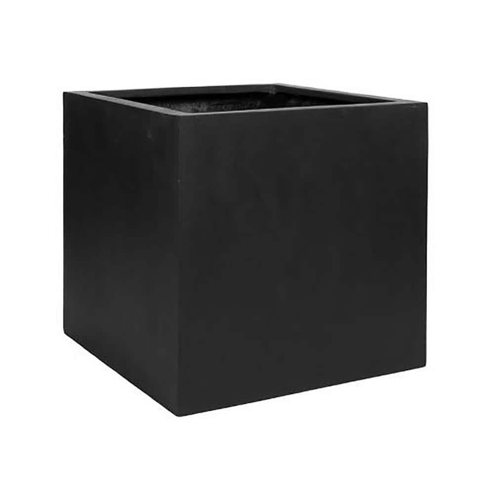 Vasesource Cube 24 in. x 24 in. Matte Black Fiberstone Square Cube Planter
