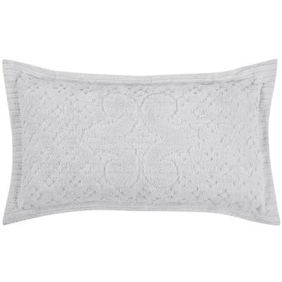 Ashton Collection in Medallion Design White King 100% Cotton Tufted Chenille Sham