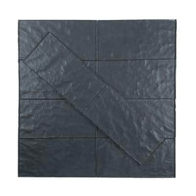 Metallics Carbon Frost Gray Subway 3 in. x 6 in. Glossy Glass Wall Tile (1 Sq. ft./Pack)