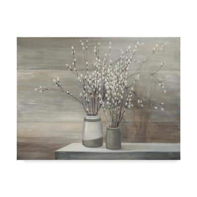 """24 in. x 32 in. """"Pussy Willow Still Life Gray Pots"""" by Julia Purinton Printed Canvas Wall Art"""