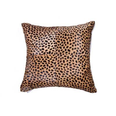 Torino Togo Quattro Cowhide Cheetah Print 18 in. x 18 in. Throw Pillow