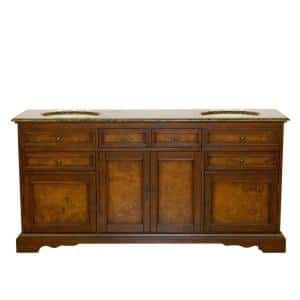 72 in. W x 22 in. D Vanity in Red Chestnut with Granite Vanity Top in Baltic Brown with Ivory Basin