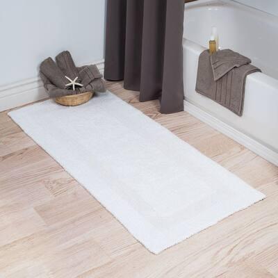 White 2 ft. x 5 ft. Cotton Reversible Extra Long Bath Rug Runner