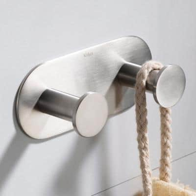 Elie Bathroom Robe and Towel Double Hook in Brushed Nickel