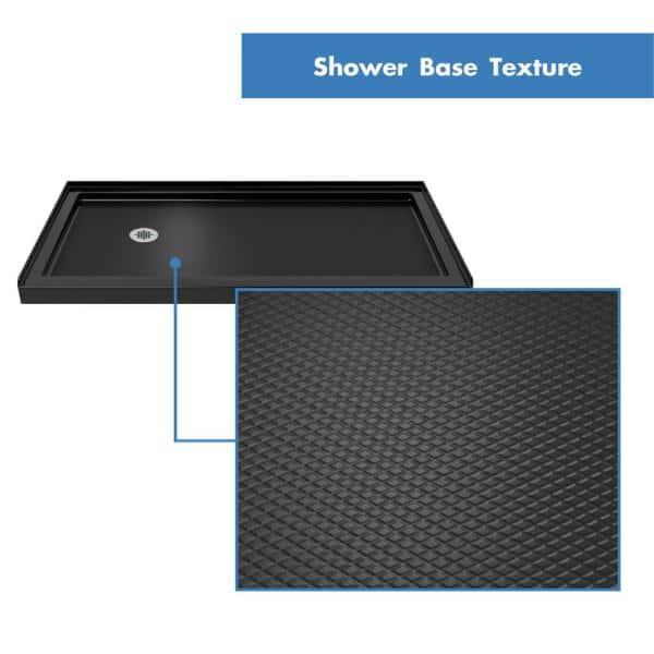 Dreamline Slimline 34 In D X 60 In W Single Threshold Shower Base In Black Color With Left Hand Drain Dlt 1134601 88 The Home Depot