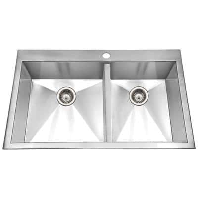 Bellus Series Drop-In Stainless Steel 33 in. 1-Hole Double Bowl Kitchen Sink