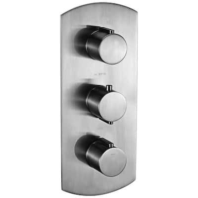 3-Handle Shower Mixer Valve with Sleek Modern Design in Brushed Nickel