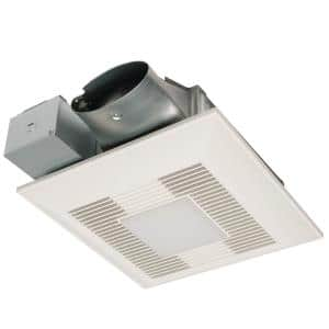 WhisperValue DC Series 50/80/100 CFM Ceiling/Wall Exhaust Fan LED Light Condensation Sensor with Low Profile Housing