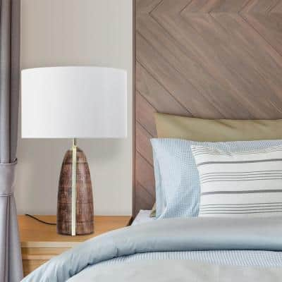 Scotti 25 in. Faux Wood Table Lamp with Gold Accent Line and White Fabric Shade
