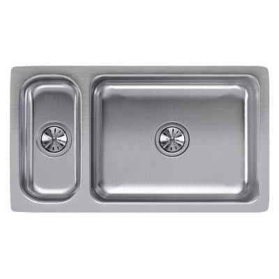 Lustertone Undermount Stainless Steel 33 in. Double Bowl Kitchen Sink