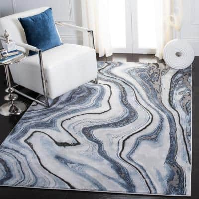 Craft Blue/Gray 9 ft. x 12 ft. Abstract Area Rug
