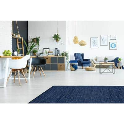 Leather Blue Leather 6 ft. x 6 ft. Round Area Rug