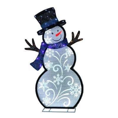 30 in. Lighted Outdoor Snowman with 137 LED Lights, White/Blue/Black