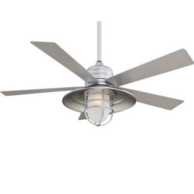 Rainman 54 in. LED Indoor/Outdoor Galvanized Ceiling Fan with Light and Wall Control
