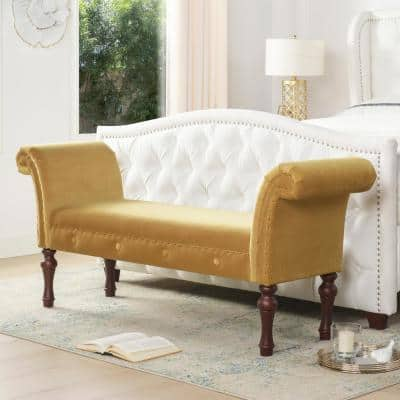Elise Mustard Yellow Roll Arm Entryway Bench