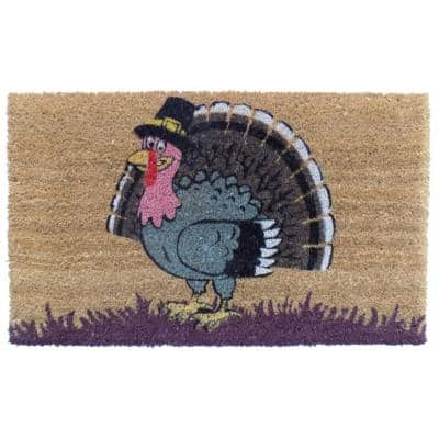PVC Backed Coir, Turkey, 30 in. x 18 in. Natural Coconut Husk Door Mat