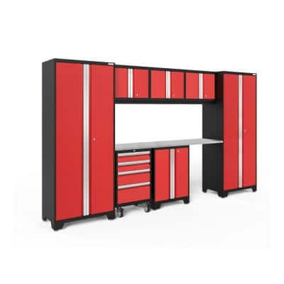 Bold Series 8-Piece 24-Gauge Stainless Steel Garage Storage System in Deep Red (132 in. W x 77 in. H x 18 in. D)