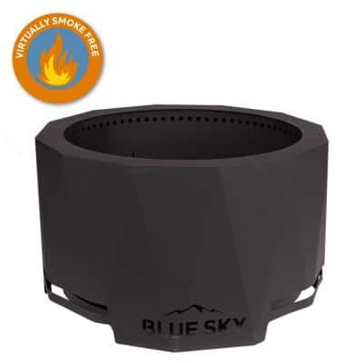 The Mammoth 33 in. x 18 in. Round Steel Wood Patio Fire Pit