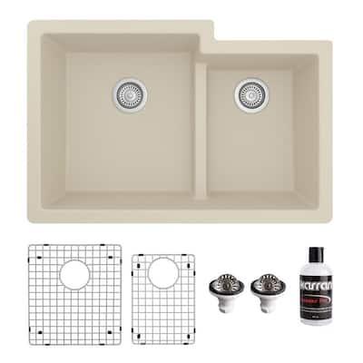 QU-811 Quartz/Granite 32 in. Double Bowl 60/40 Undermount Kitchen Sink in Bisque with Bottom Grid and Strainer