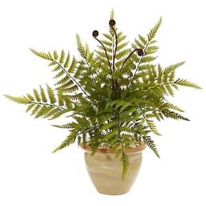 18 in. Fern Artificial Plant in Ceramic Planter