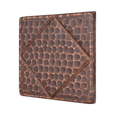 4 in. x 4 in. Hammered Copper Decorative Wall Tile with Diamond Design in Oil Rubbed Bronze (4-Pack)