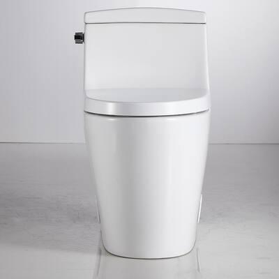 Modern White Round Ceramic Toilet 1.28 GPF Toilet 360 Vortex Flush Technology and Left Joystick White Toilet One Piece