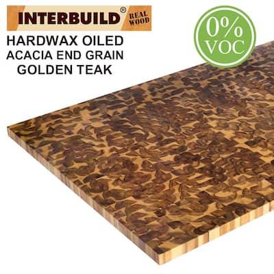 Acacia 5 ft. L x 40 in. D x 1.5 in. T Butcher Block Island Countertop in Golden Teak Stain