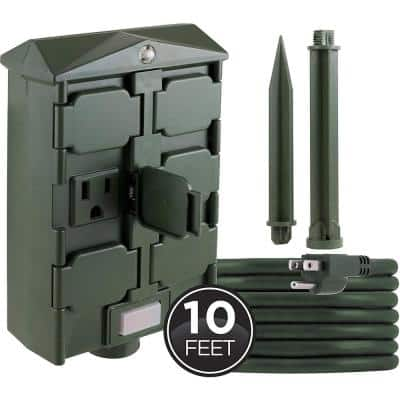 6-Hour Outdoor Photocell Yard Stake Timer with 10 ft. Power Cord, Green