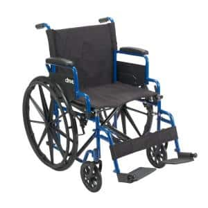 Blue Streak Wheelchair with Flip Back Desk Arms, 20 in. Seat and Swing-Away Footrests